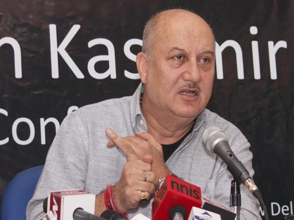 New Delhi: Actor Anupam Kher addresses a press conference regarding the return of Kashmiri Pandits to Kashmir in New Delhi, on April 12, 2015. (Photo: Amlan Paliwal/IANS)